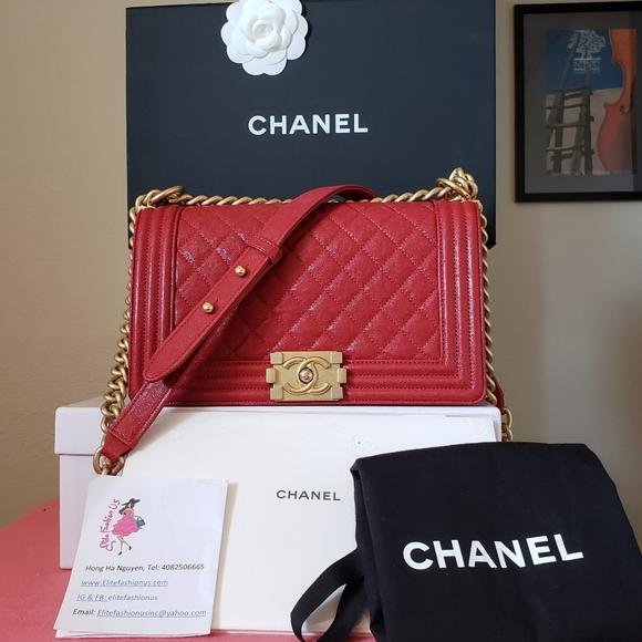 Chanel boy old medium red caviar gold hw bag